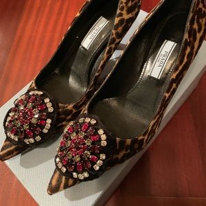 NIB Prada Leopard Dye Fur Jeweled Pump (Orig$1500)